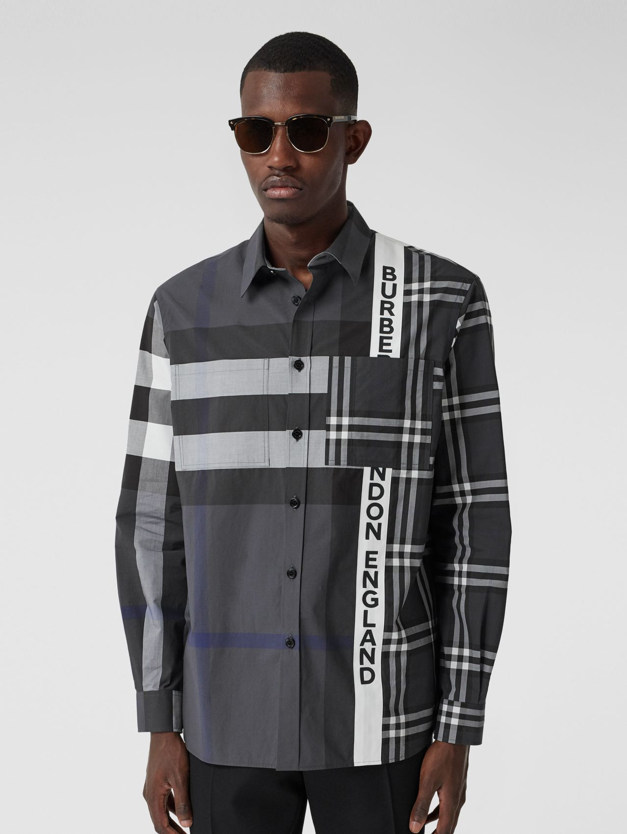 Logo Print Patchwork Check Cotton Oversized Shirt in Dark Pewter