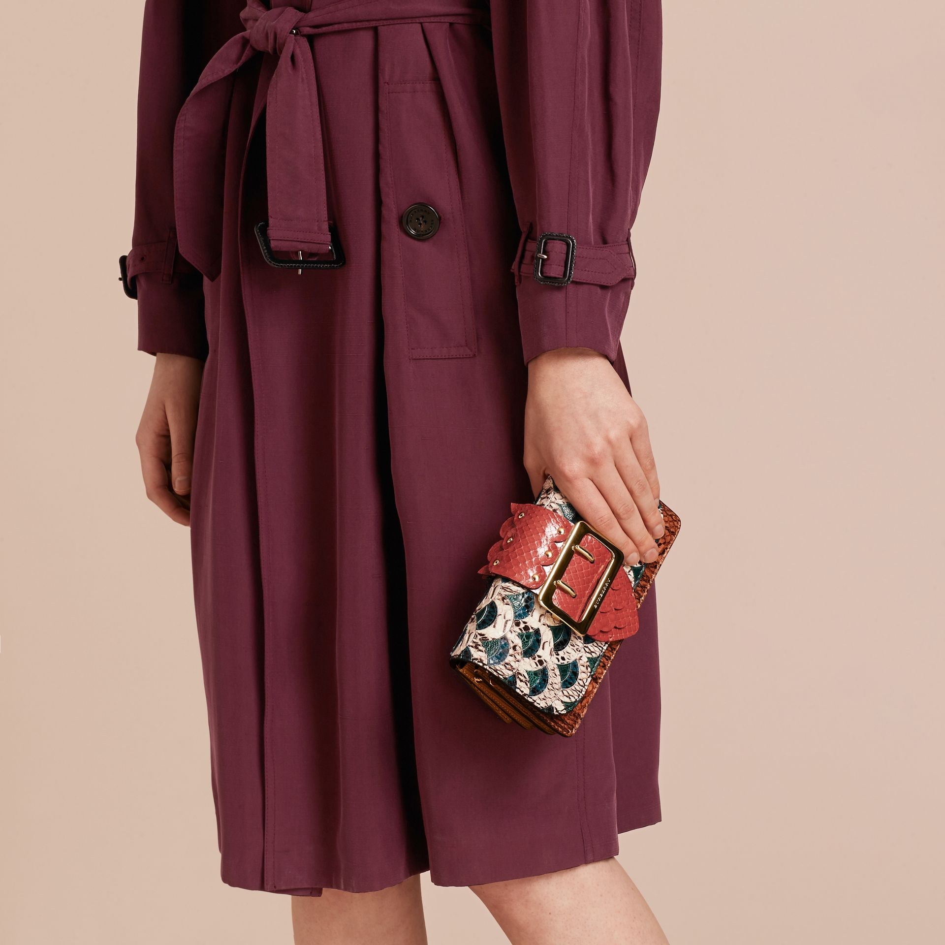 The Small Buckle Bag in Scallop Trim Snakeskin and Ostrich - gallery image 4