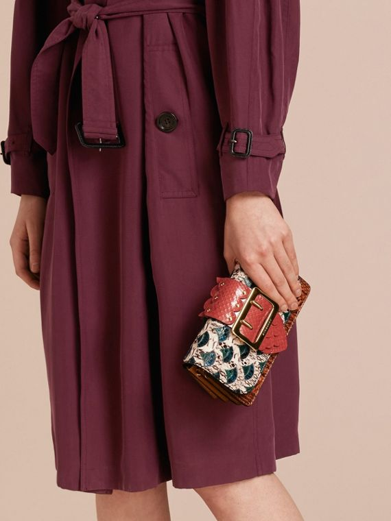 The Small Buckle Bag in Scallop Trim Snakeskin and Ostrich - cell image 3