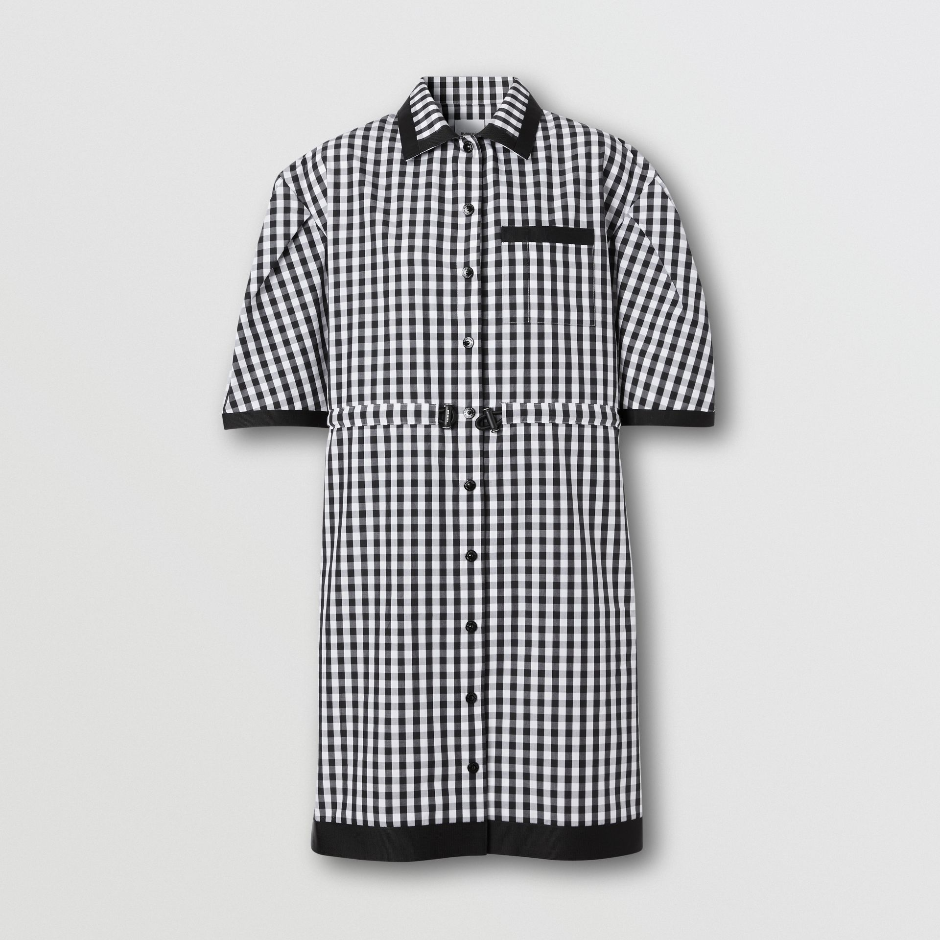 Puff-sleeve Gingham Cotton Shirt Dress in Black - Women | Burberry Australia - gallery image 3