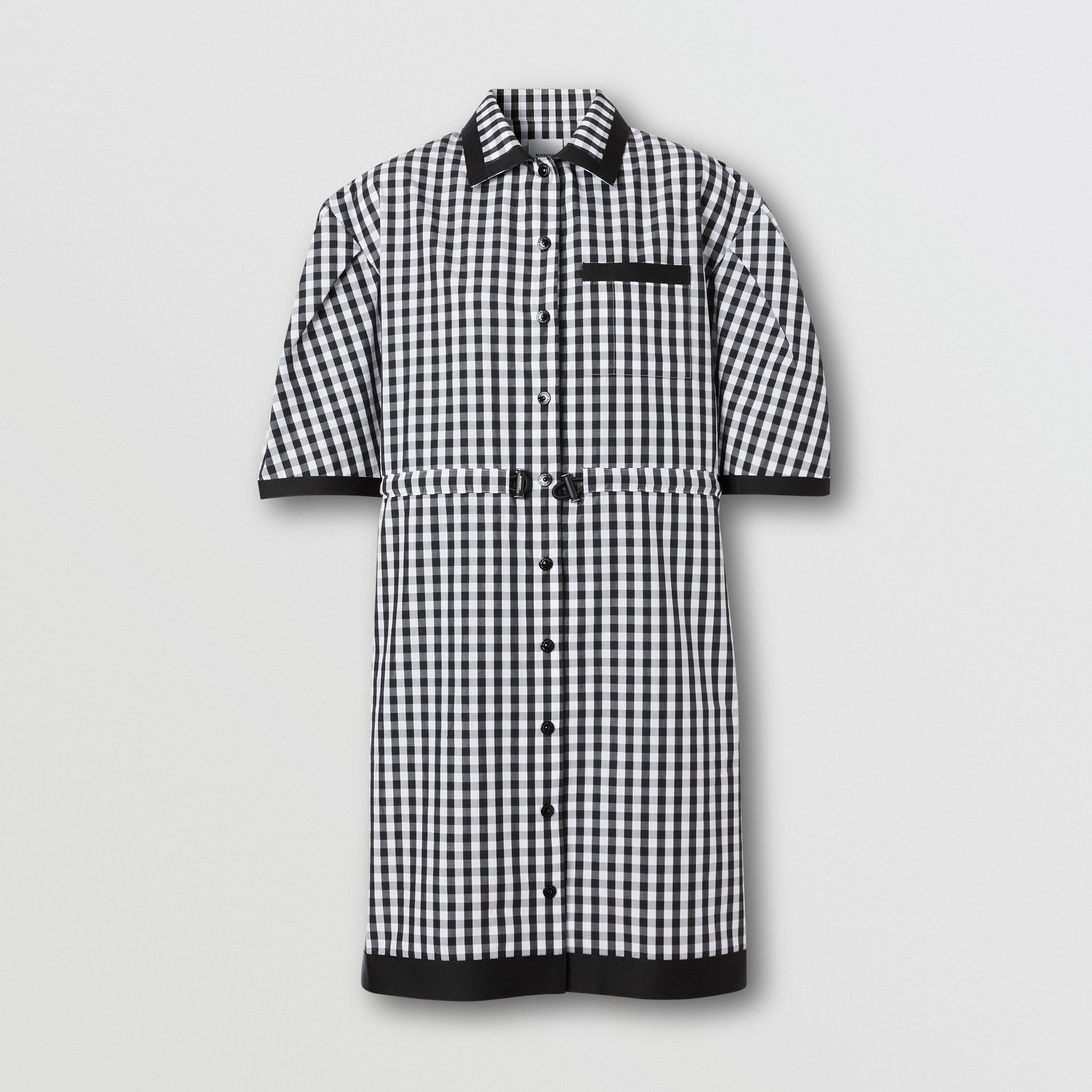 Puff-sleeve Gingham Cotton Shirt Dress in Black - Women | Burberry - 4