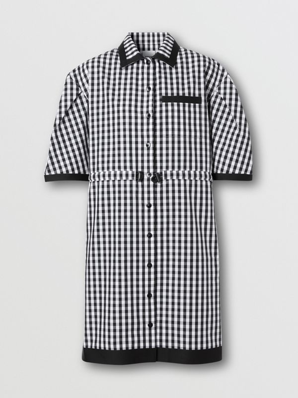 Puff-sleeve Gingham Cotton Shirt Dress in Black - Women | Burberry Australia - cell image 3