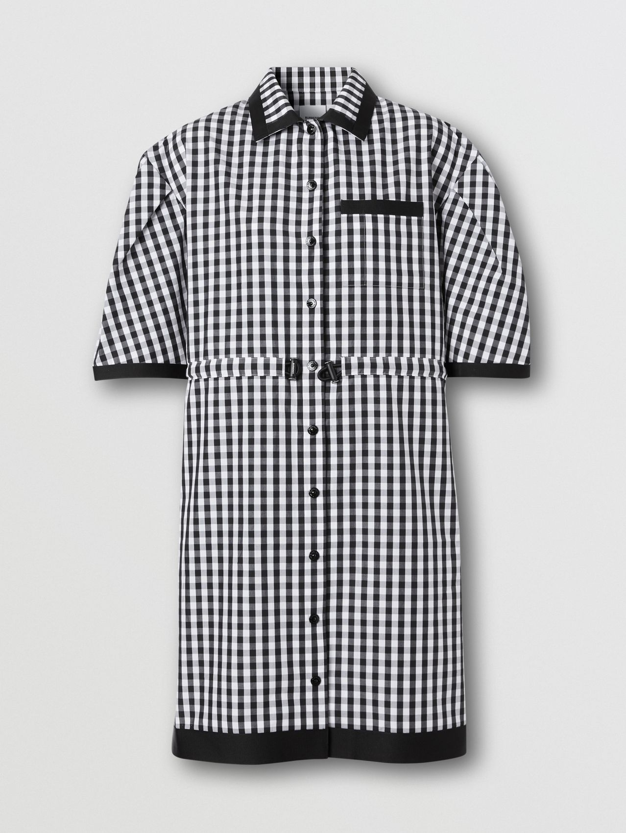 Puff-sleeve Gingham Cotton Shirt Dress in Black
