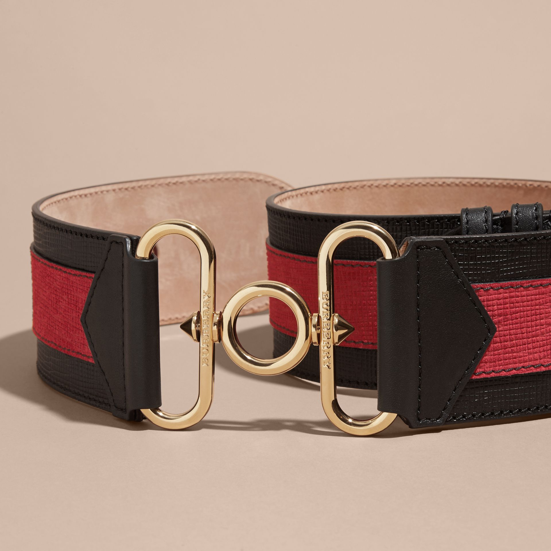 Black / parade red Embellished and Appliquéd Textured Leather Military Belt - gallery image 3