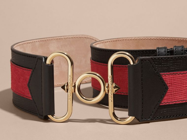 Black / parade red Embellished and Appliquéd Textured Leather Military Belt - cell image 2
