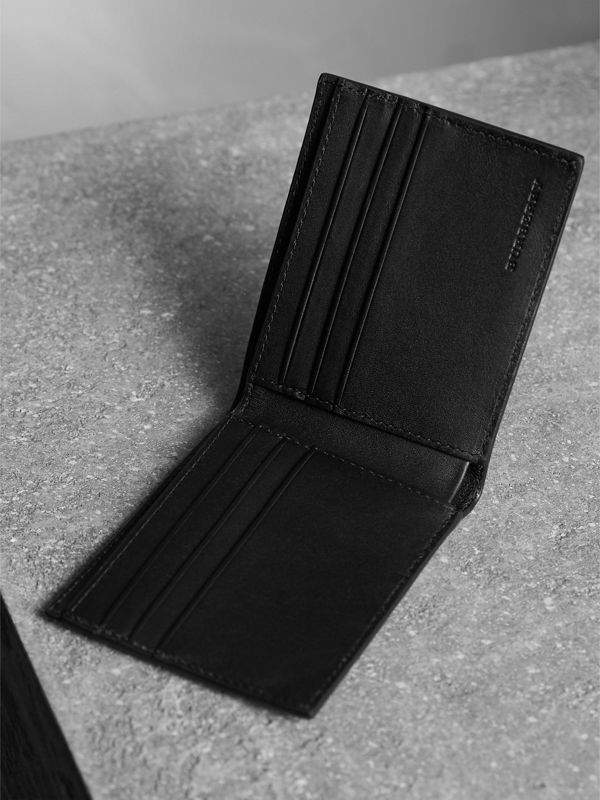 London Check and Leather Bifold Wallet in Chocolate/black - Men | Burberry United Kingdom - cell image 3