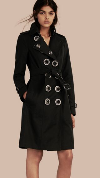 Cotton Gabardine Trench Coat with Embellished Fastening