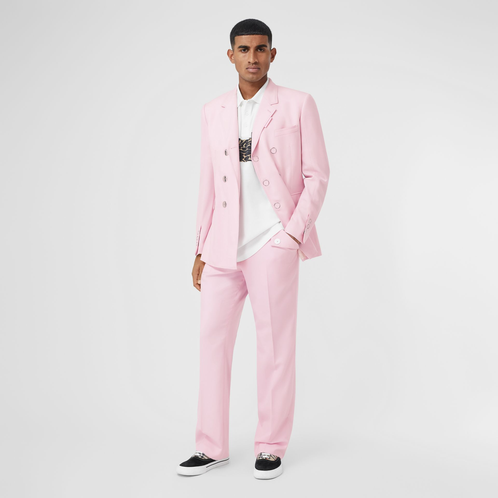 Tumbled Wool Wide-leg Tailored Trousers in Candy Pink - Men | Burberry - gallery image 0