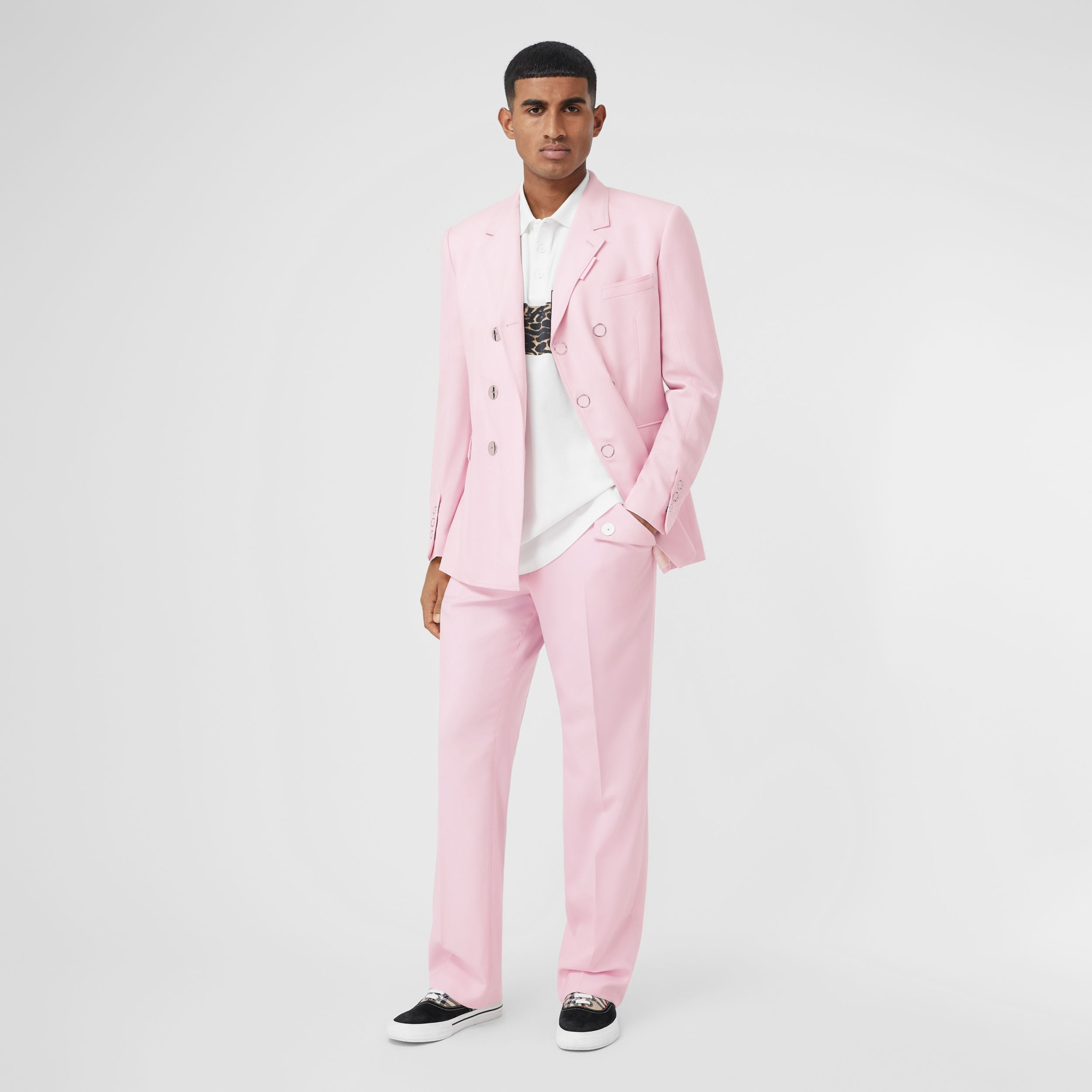 Tumbled Wool Wide-leg Tailored Trousers in Candy Pink - Men | Burberry Hong Kong S.A.R - 1