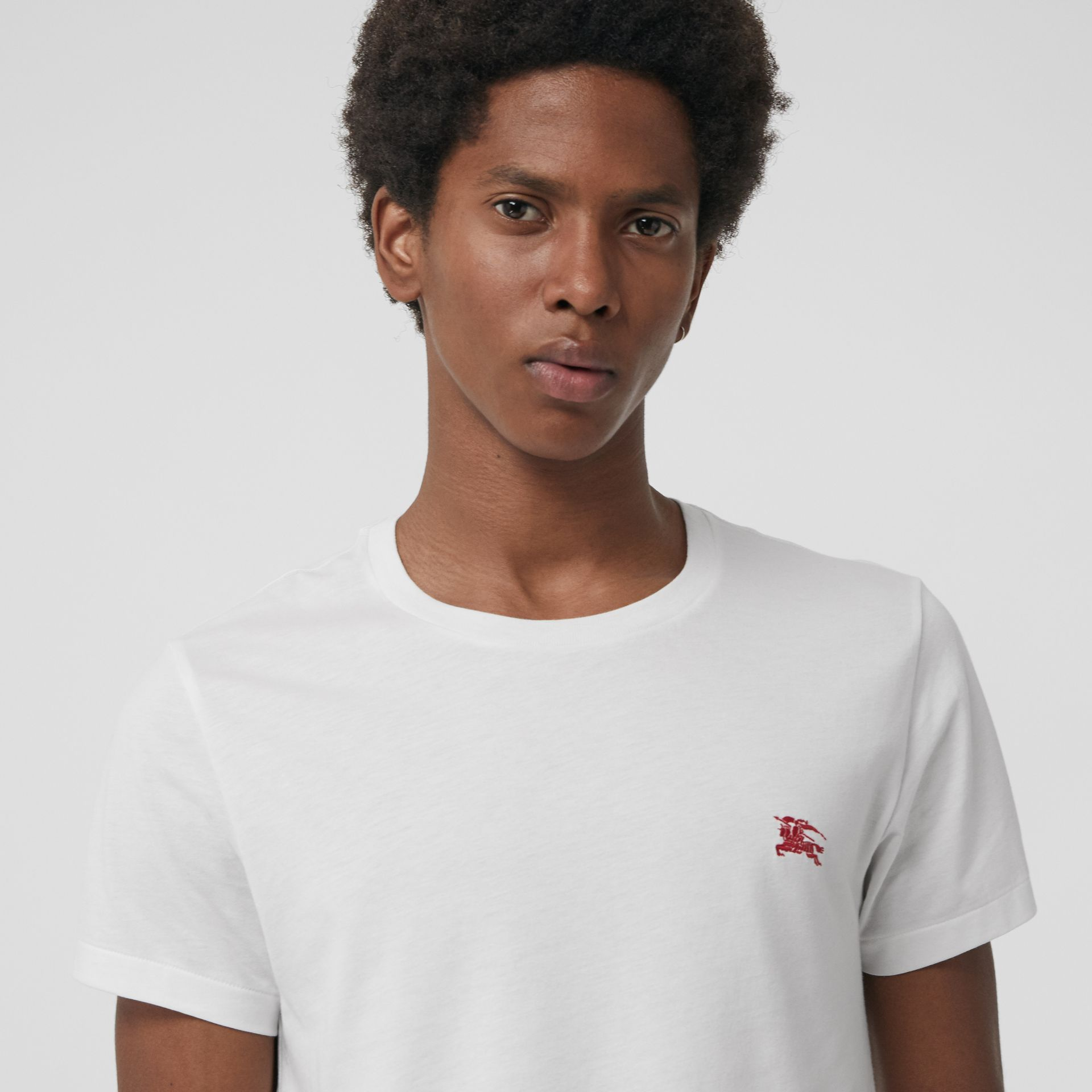 Cotton Jersey T-shirt in White - Men | Burberry United States - gallery image 1