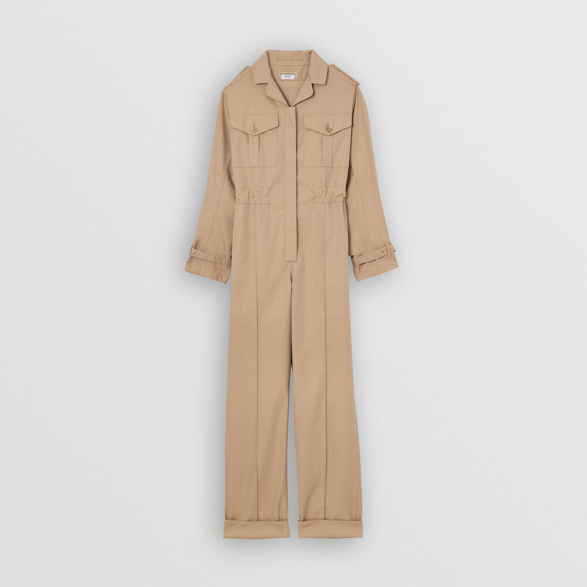 Cotton Gabardine Jumpsuit in Honey - Women | Burberry Hong Kong - gallery image 3