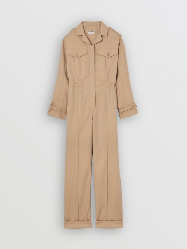 Cotton Gabardine Jumpsuit in Honey - Women | Burberry - cell image 3