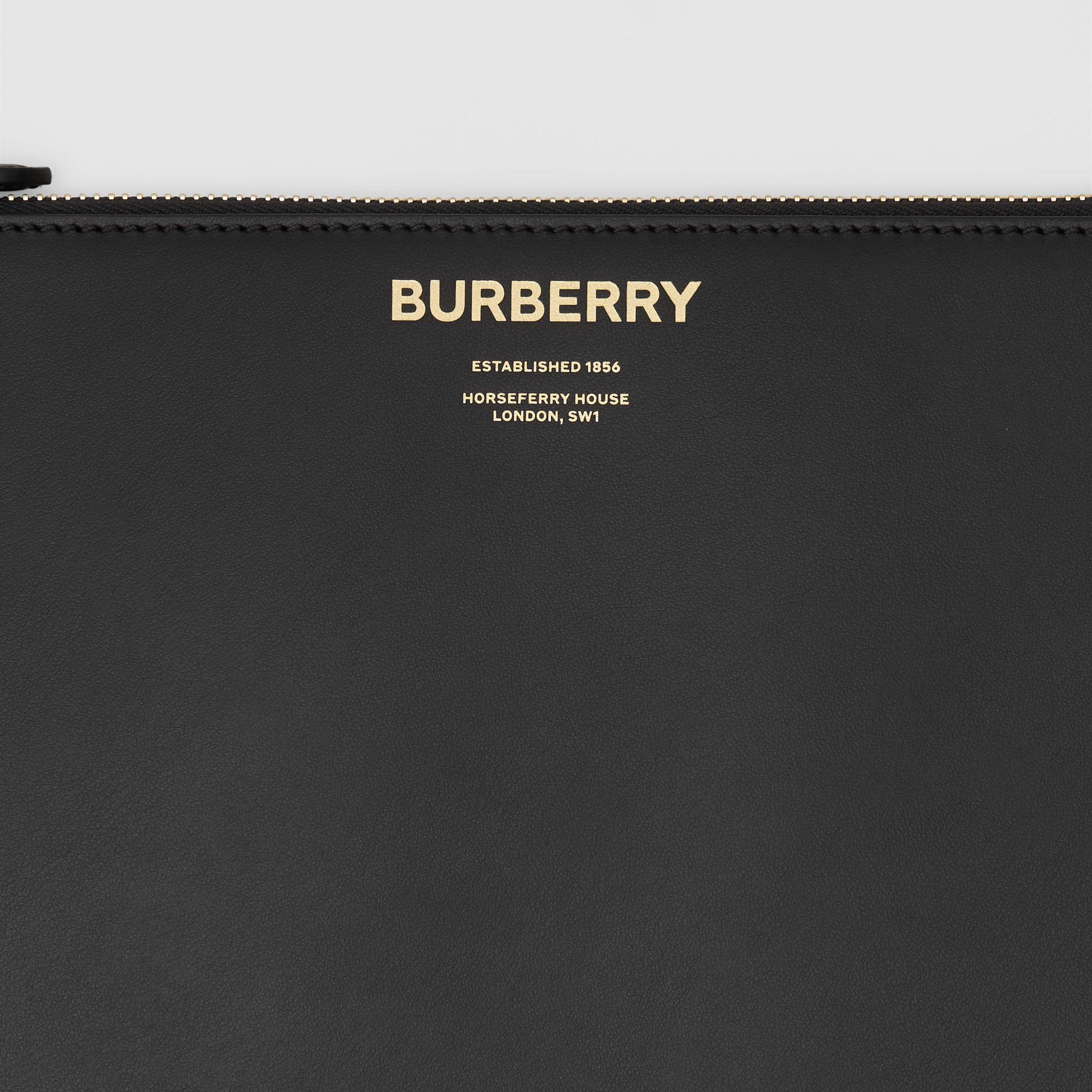 Horseferry Print Leather Zip Pouch in Black - Men | Burberry - gallery image 1
