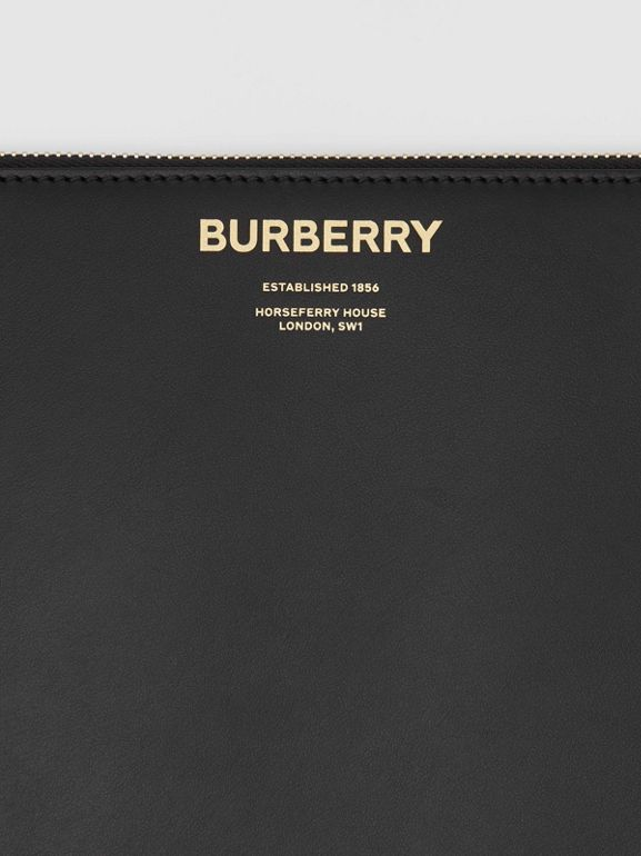 Horseferry Print Leather Zip Pouch in Black - Men | Burberry - cell image 1