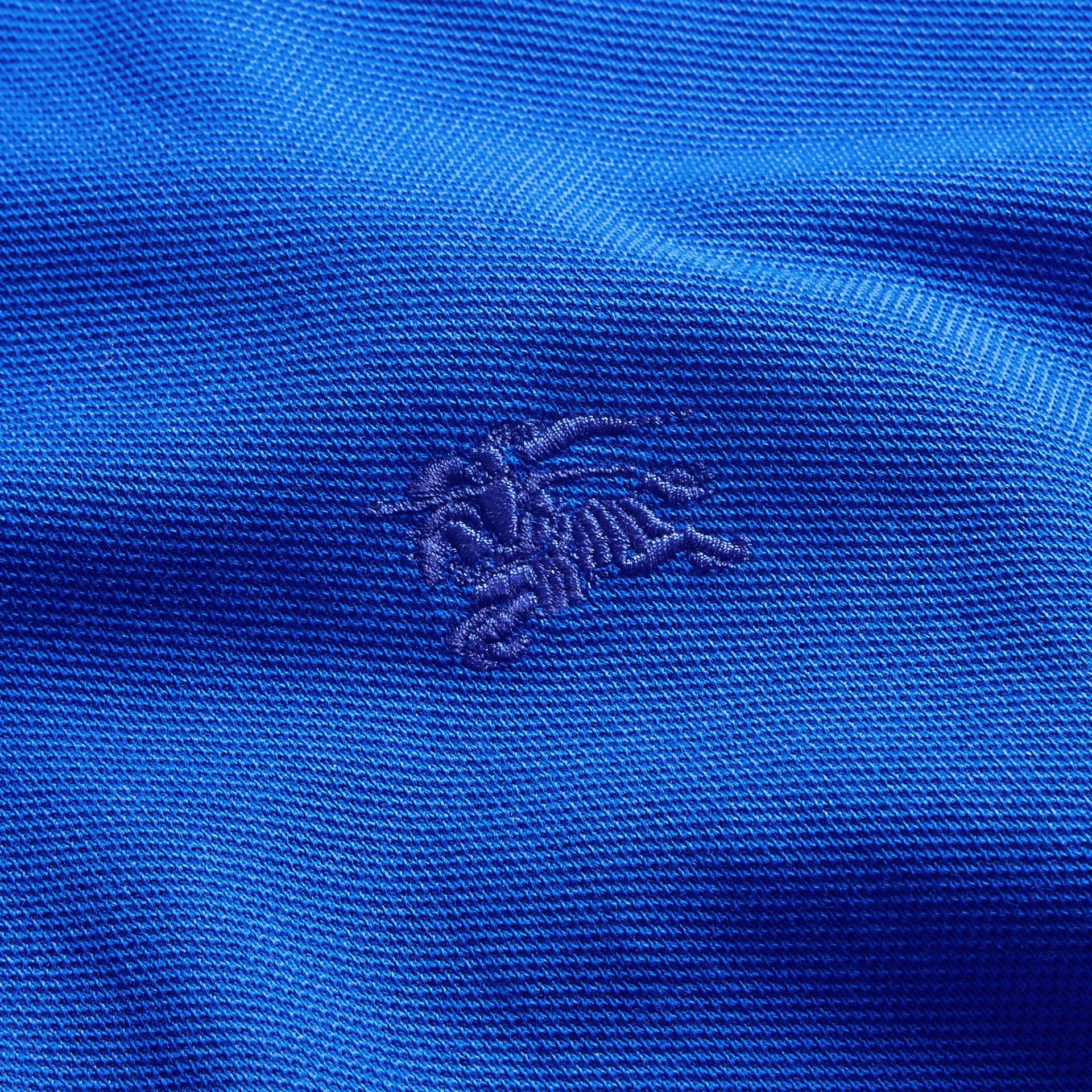 Check Placket Long Sleeve Polo Shirt Brilliant Blue - gallery image 2