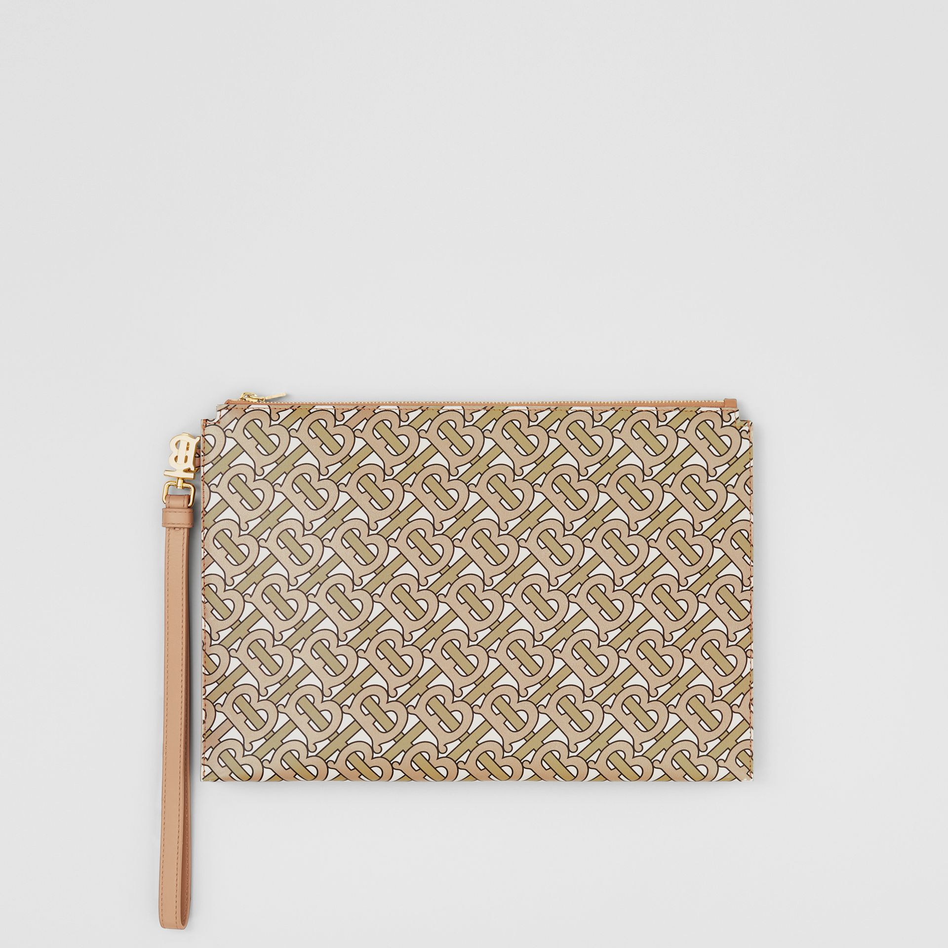 Monogram Print Leather Pouch in Beige - Women | Burberry - gallery image 7