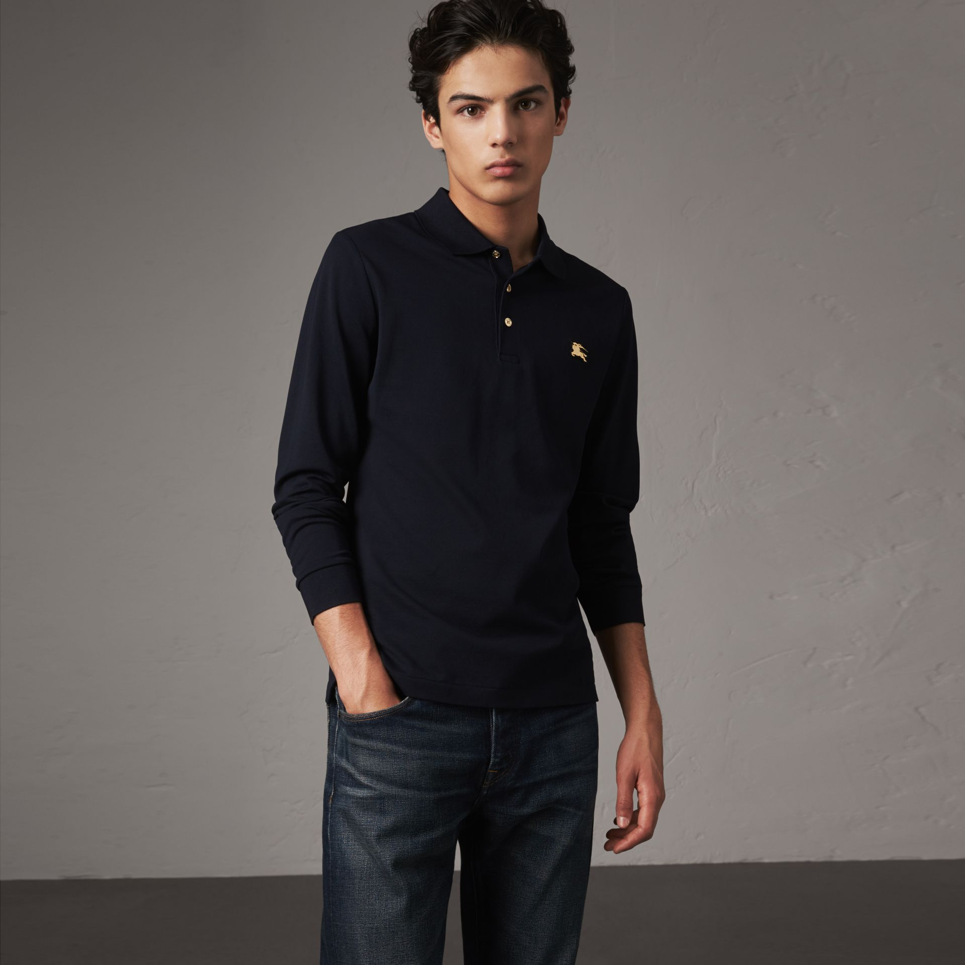 Long-sleeve Cotton Piqué Polo Shirt in Navy - Men | Burberry United Kingdom - gallery image 0
