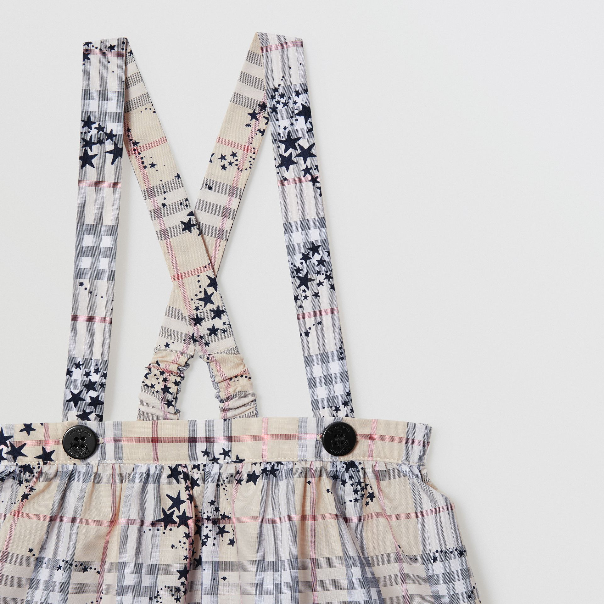 Star Print Check Cotton Two-piece Baby Gift Set in Bright Navy - Children | Burberry - gallery image 6