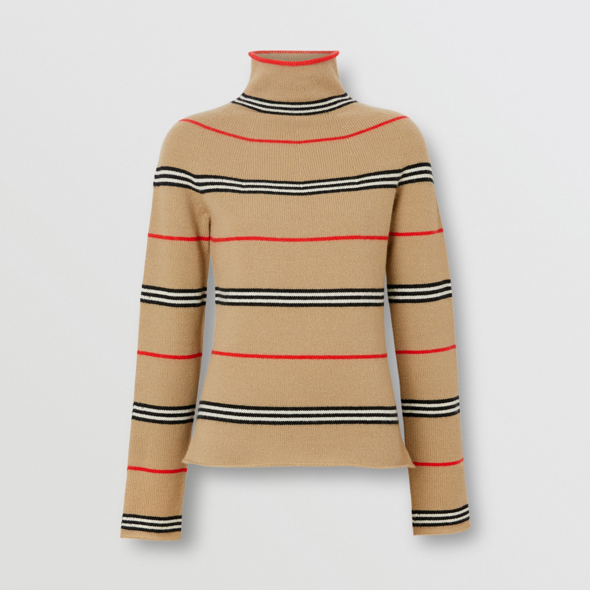 Icon Stripe Cashmere Turtleneck Sweater in Archive Beige - Women | Burberry - gallery image 3