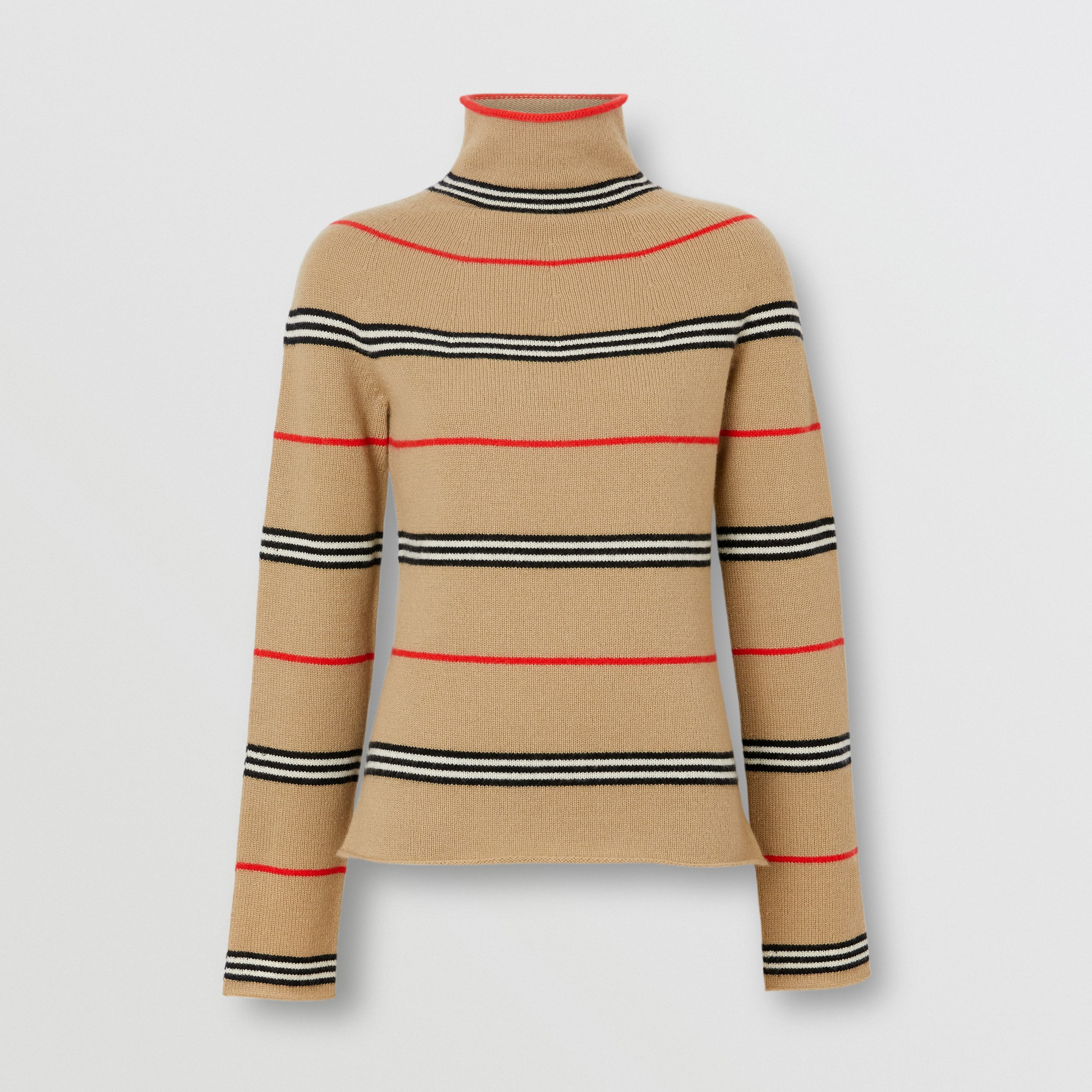 Icon Stripe Cashmere Turtleneck Sweater in Archive Beige - Women | Burberry United Kingdom - 4