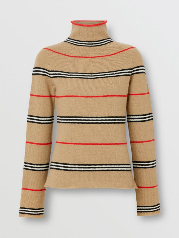 Icon Stripe Cashmere Turtleneck Sweater in Archive Beige - Women | Burberry - cell image 3