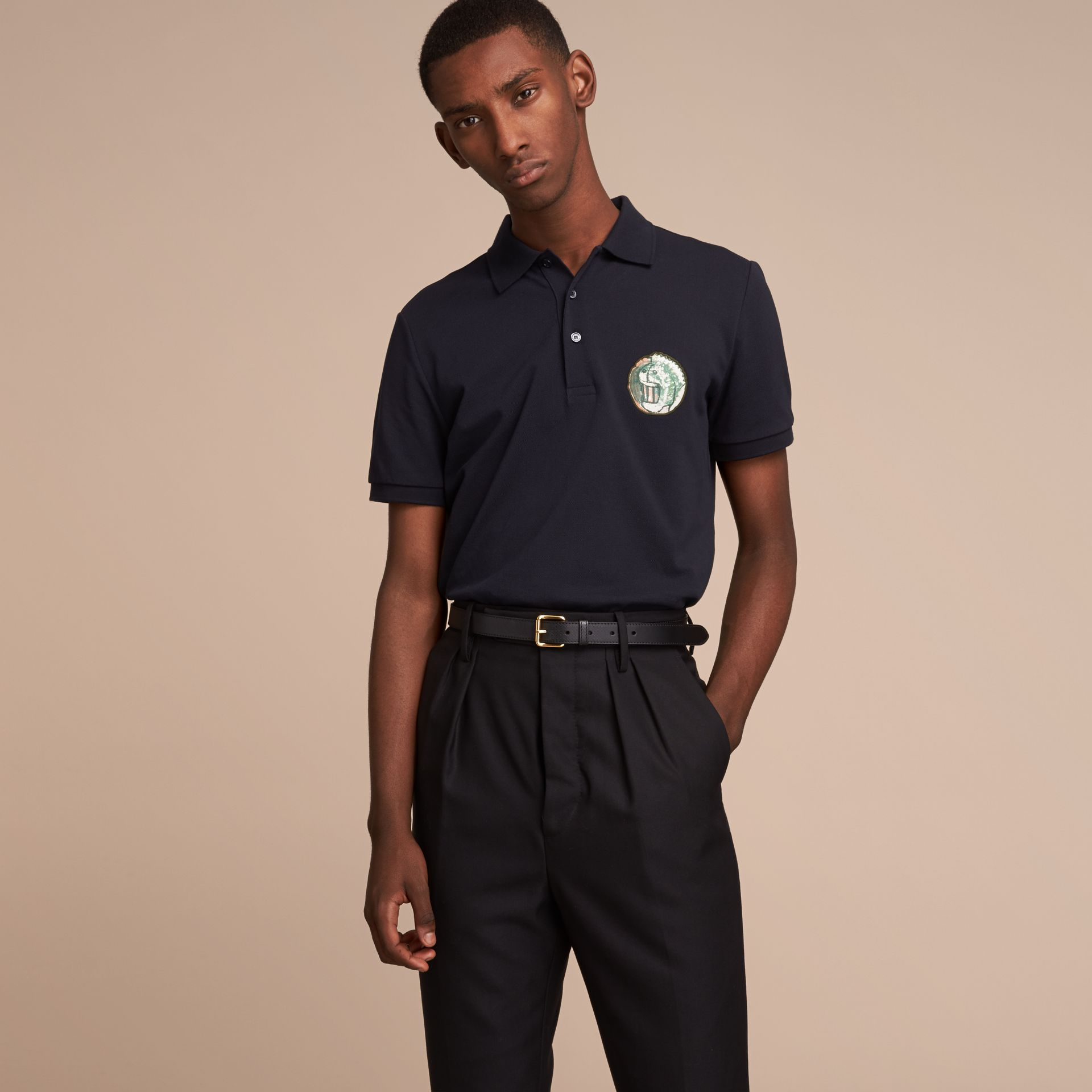 Pallas Heads Appliqué Cotton Polo Shirt in Dark Navy - gallery image 6
