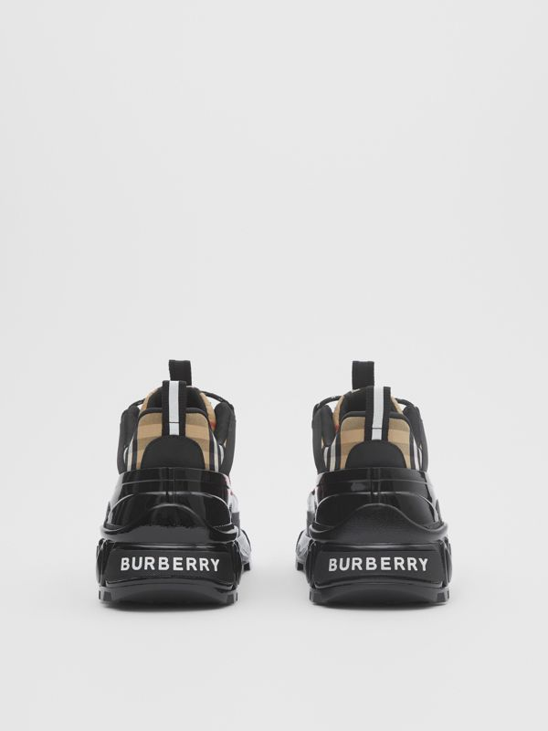 Vintage Check Cotton and Nubuck Arthur Sneakers in Archive Beige | Burberry Singapore - cell image 3