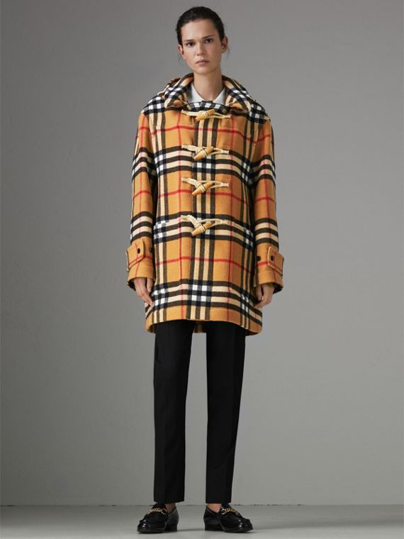 Gosha x Burberry Check Oversized Duffle Coat in Antique Yellow