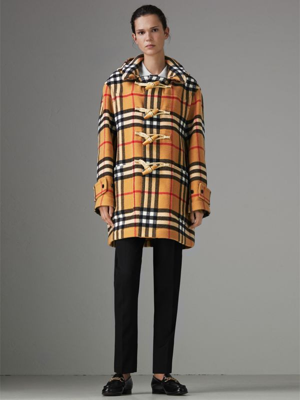 Gosha x Burberry Check Oversized Duffle Coat in Antique Yellow | Burberry - cell image 2