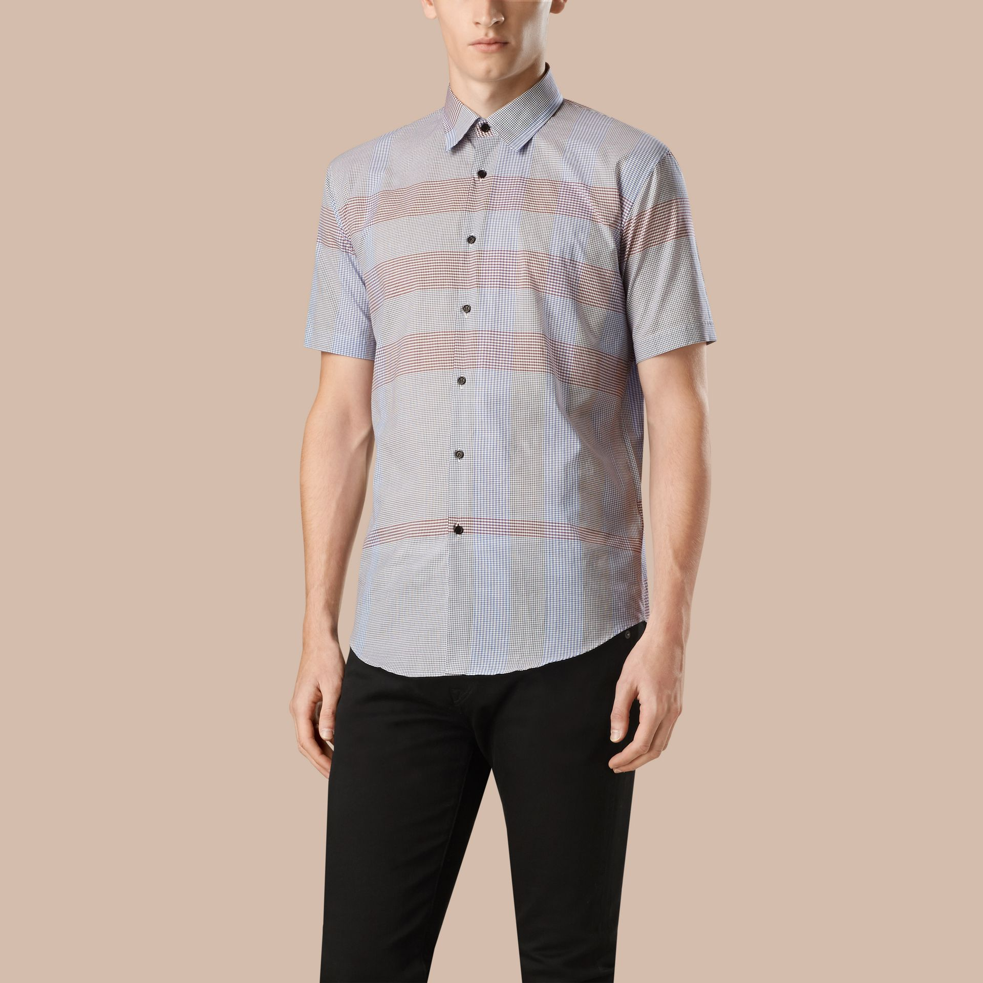 Hydrangea blue Short-sleeved Check Cotton Shirt - gallery image 1