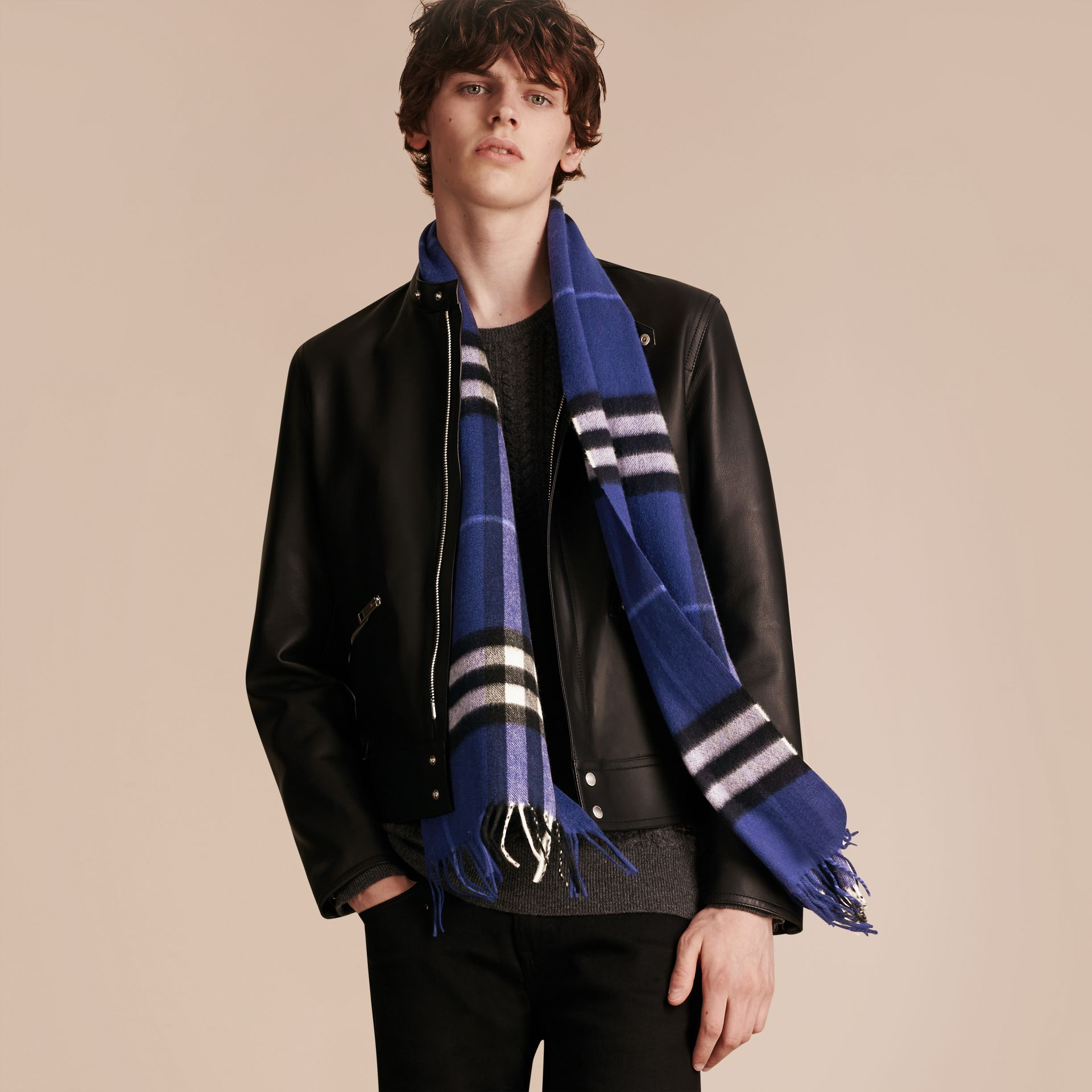 The Classic Cashmere Scarf in Check  in Bright Sapphire - gallery image 4