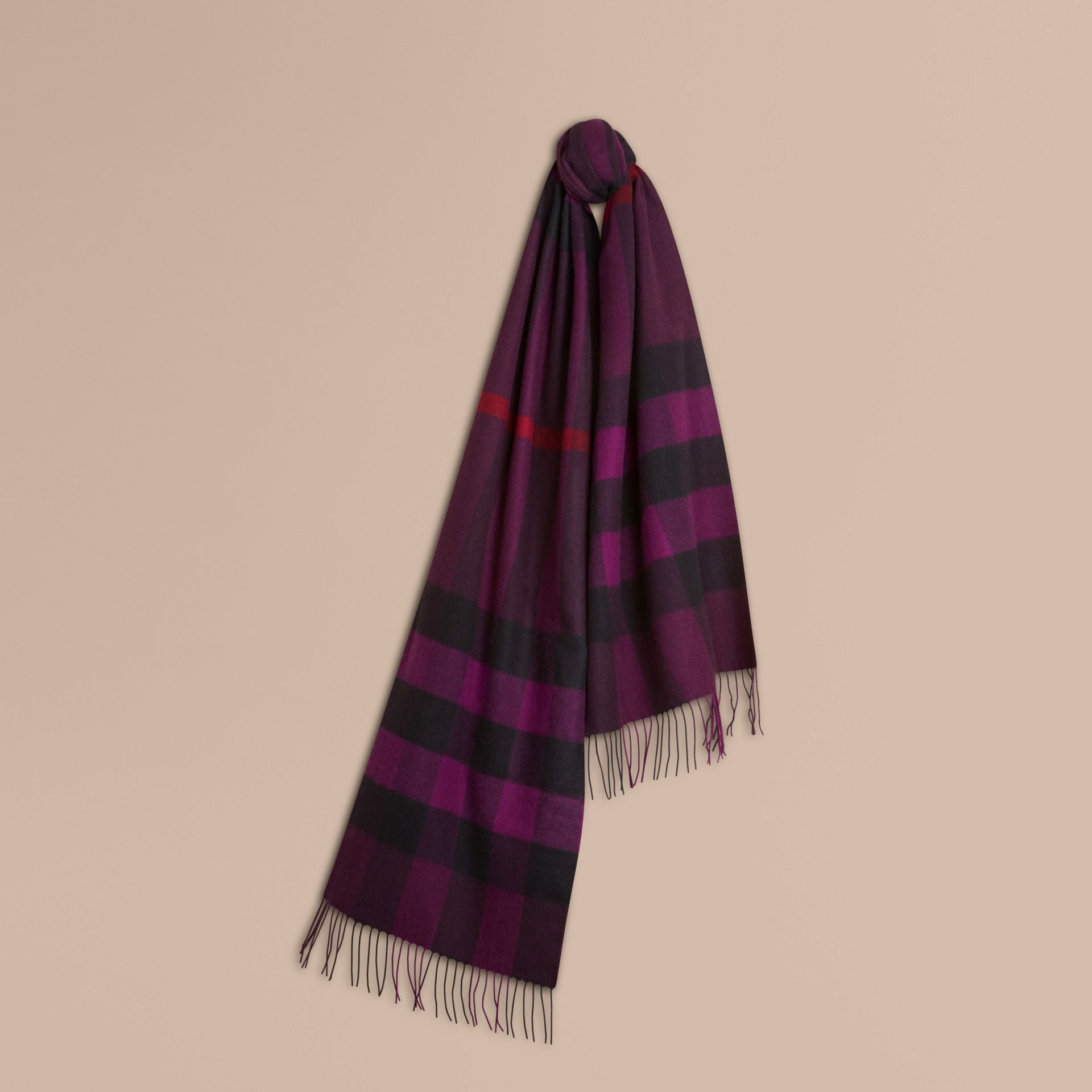 Aubergine The Large Classic Cashmere Scarf in Check Aubergine - gallery image 6