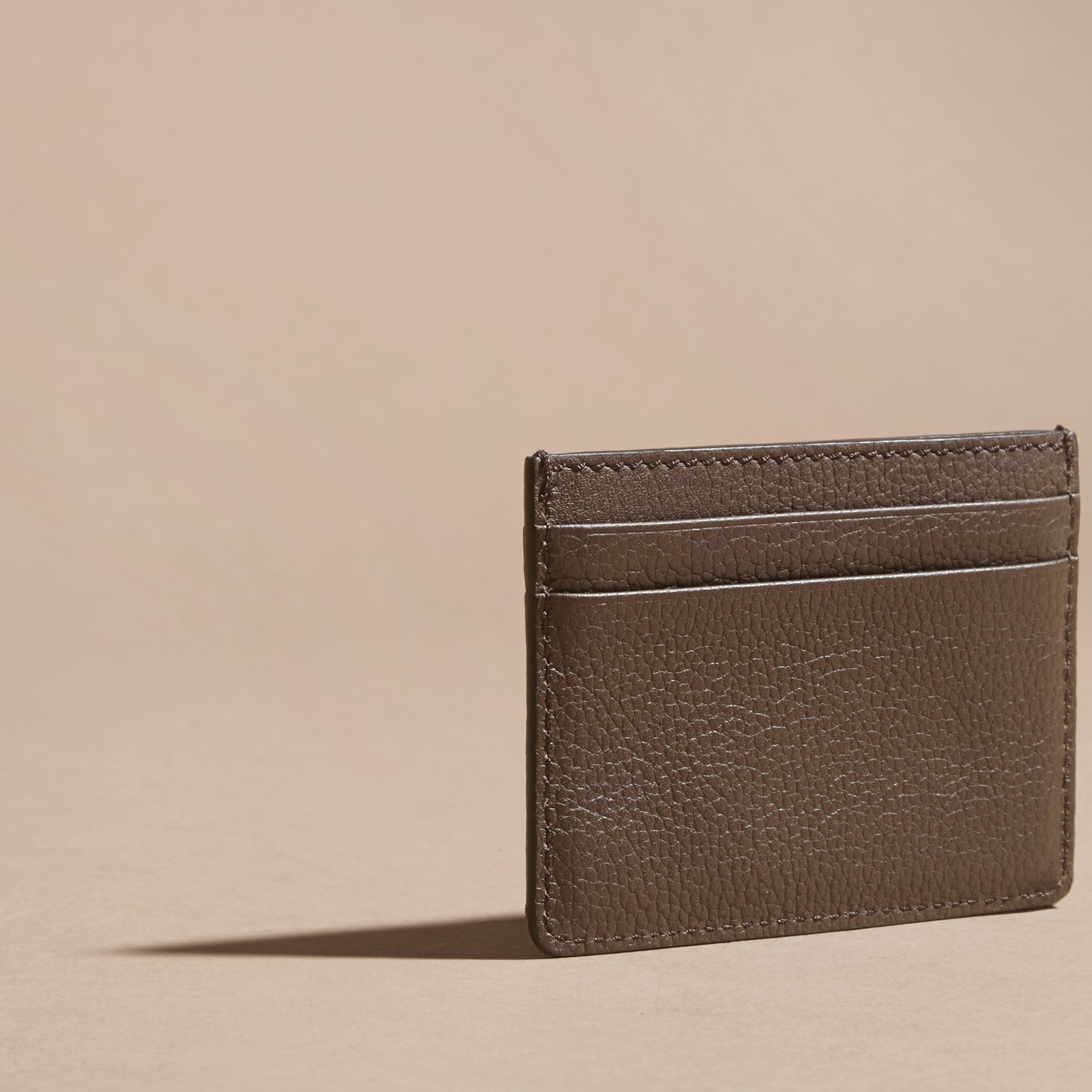 Deep taupe brown Grainy London Leather Card Case Deep Taupe Brown - gallery image 4