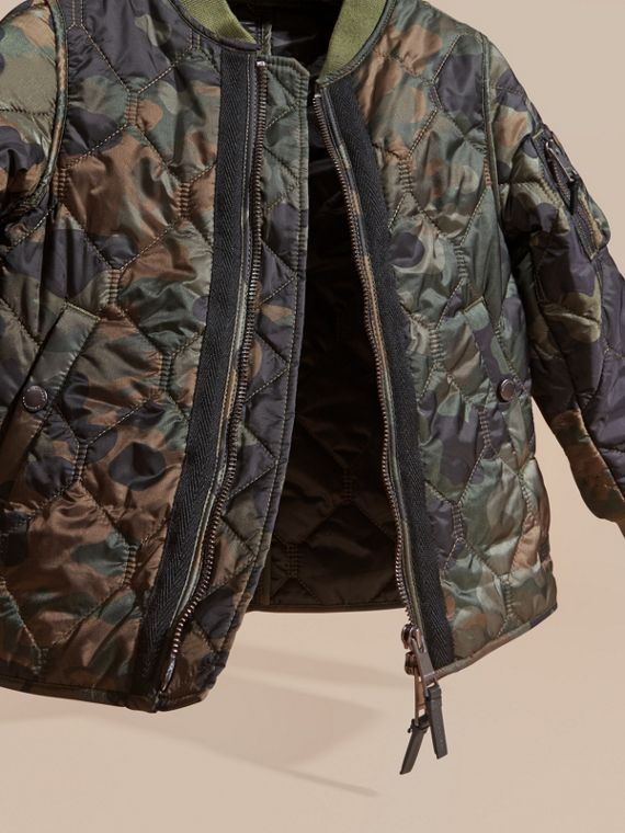 Dark cedar green Camouflage Quilted Nylon Bomber Jacket - cell image 2