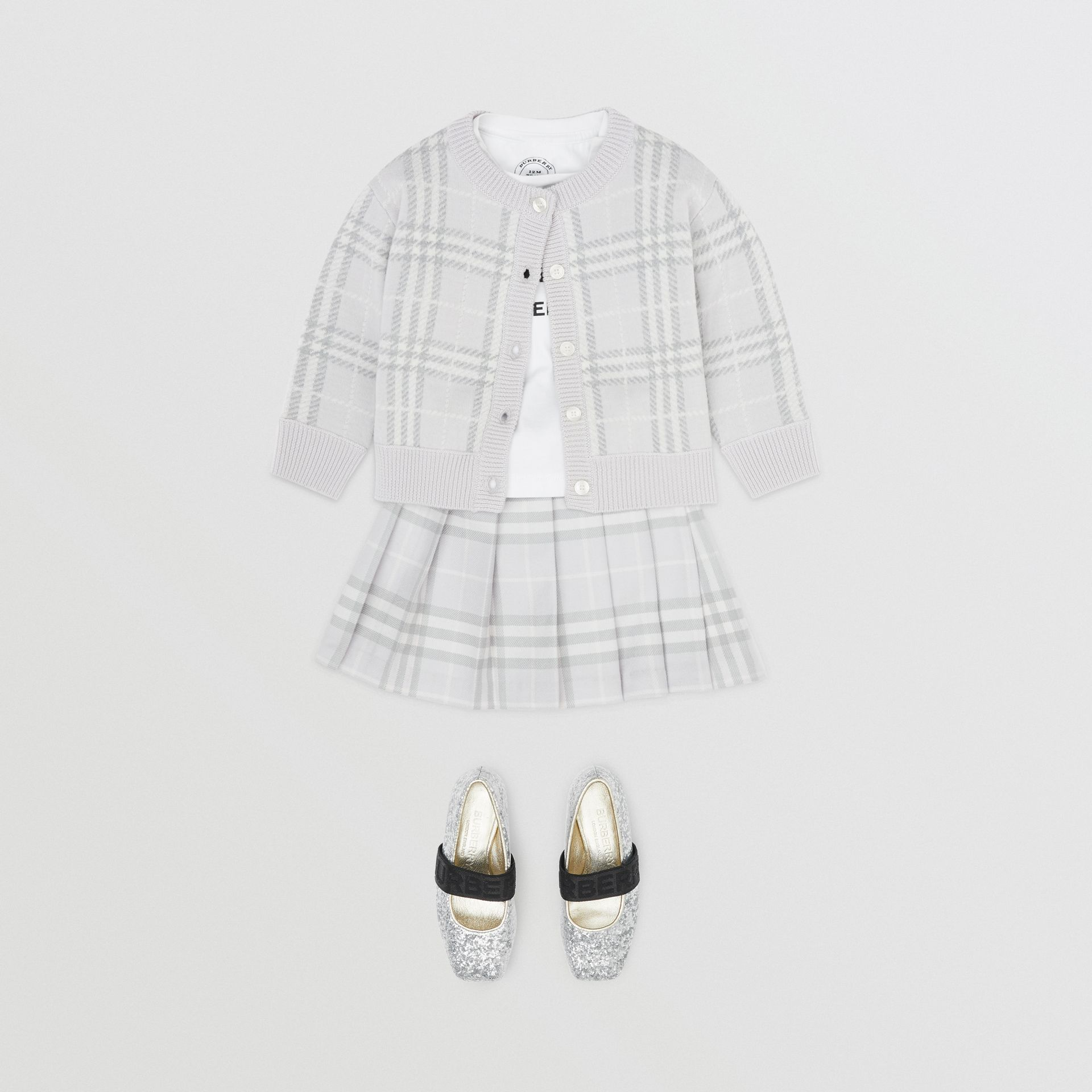 Vintage Check Wool Pleated Wrap Skirt in Pale Grey - Children | Burberry United Kingdom - gallery image 2