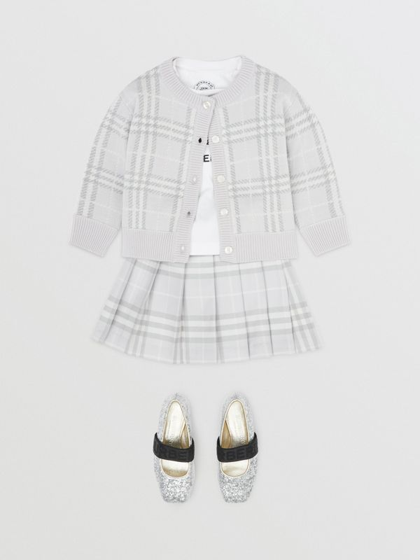 Vintage Check Wool Pleated Wrap Skirt in Pale Grey - Children | Burberry United Kingdom - cell image 2