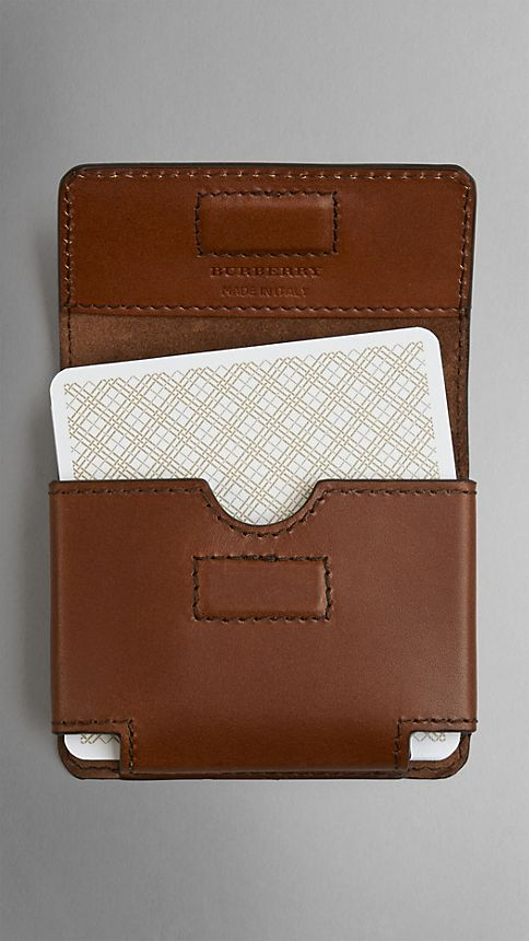 Brown ochre Sartorial Leather Playing Card Case - Image 2