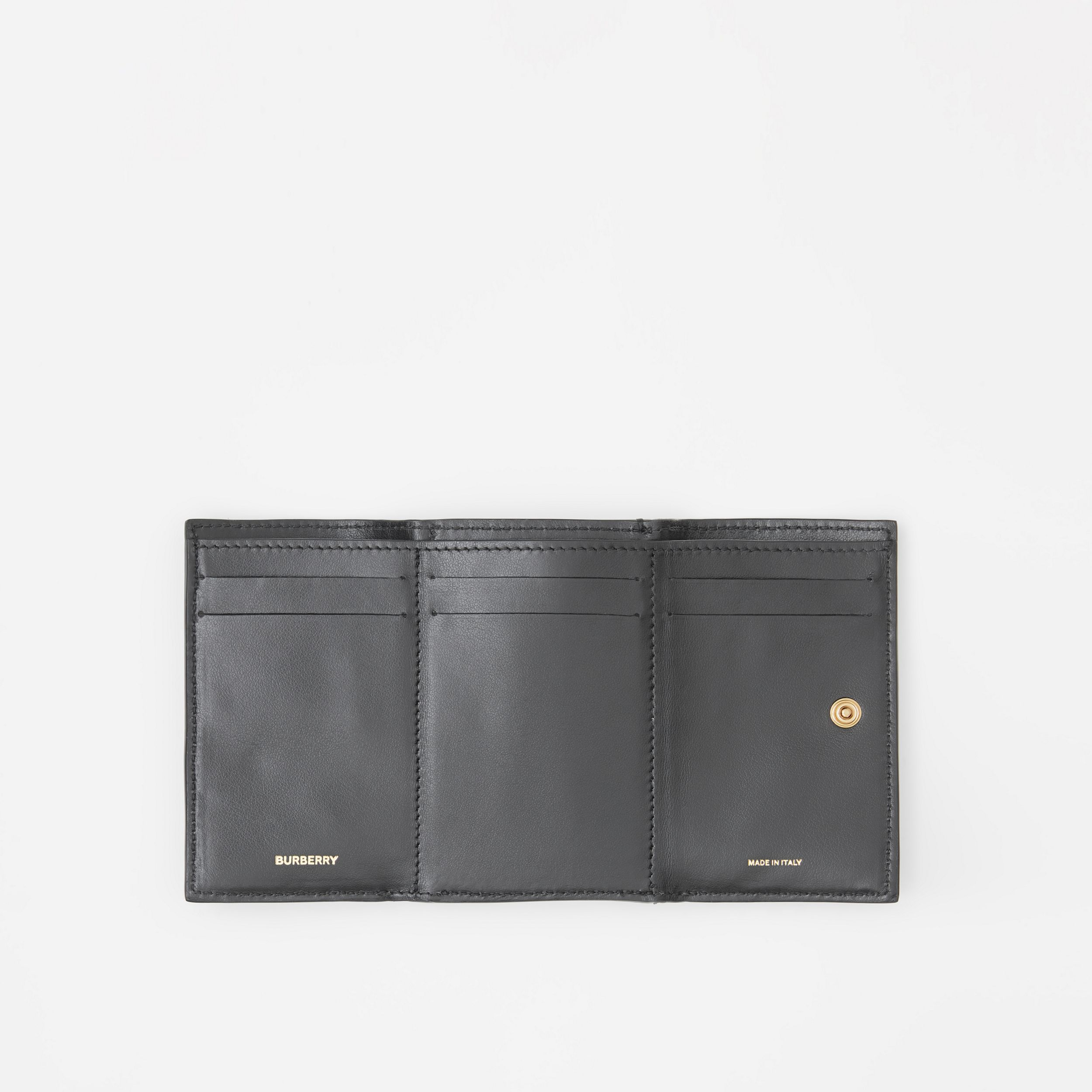 Small Grainy Leather Folding Wallet in Black - Women | Burberry - 3