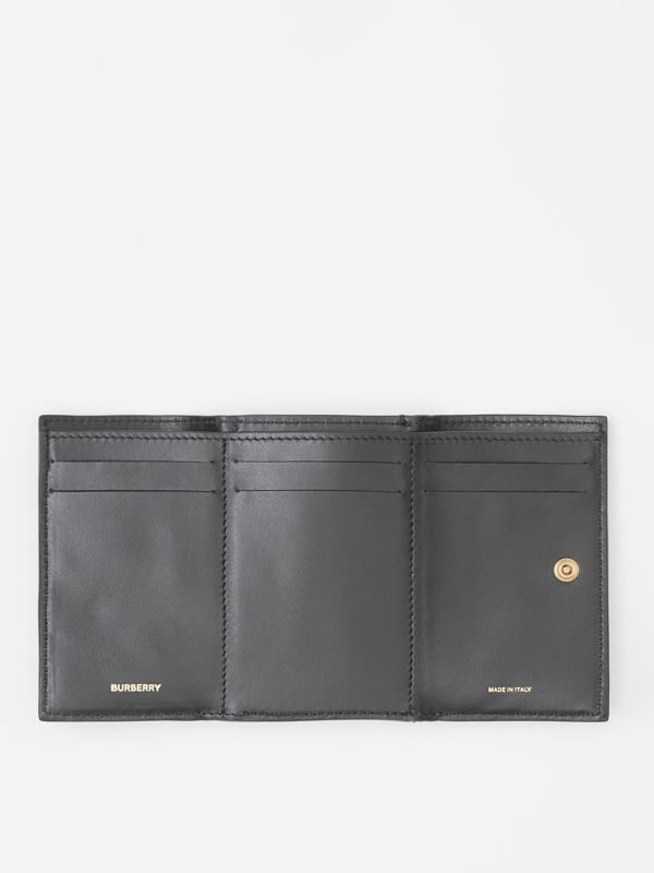 Small Grainy Leather Folding Wallet in Black - Women | Burberry - cell image 2