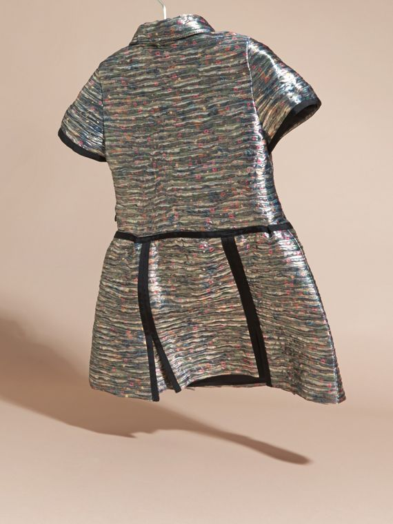 Mist grey Floral Print Metallic Silk Blend Shirt Dress - cell image 3