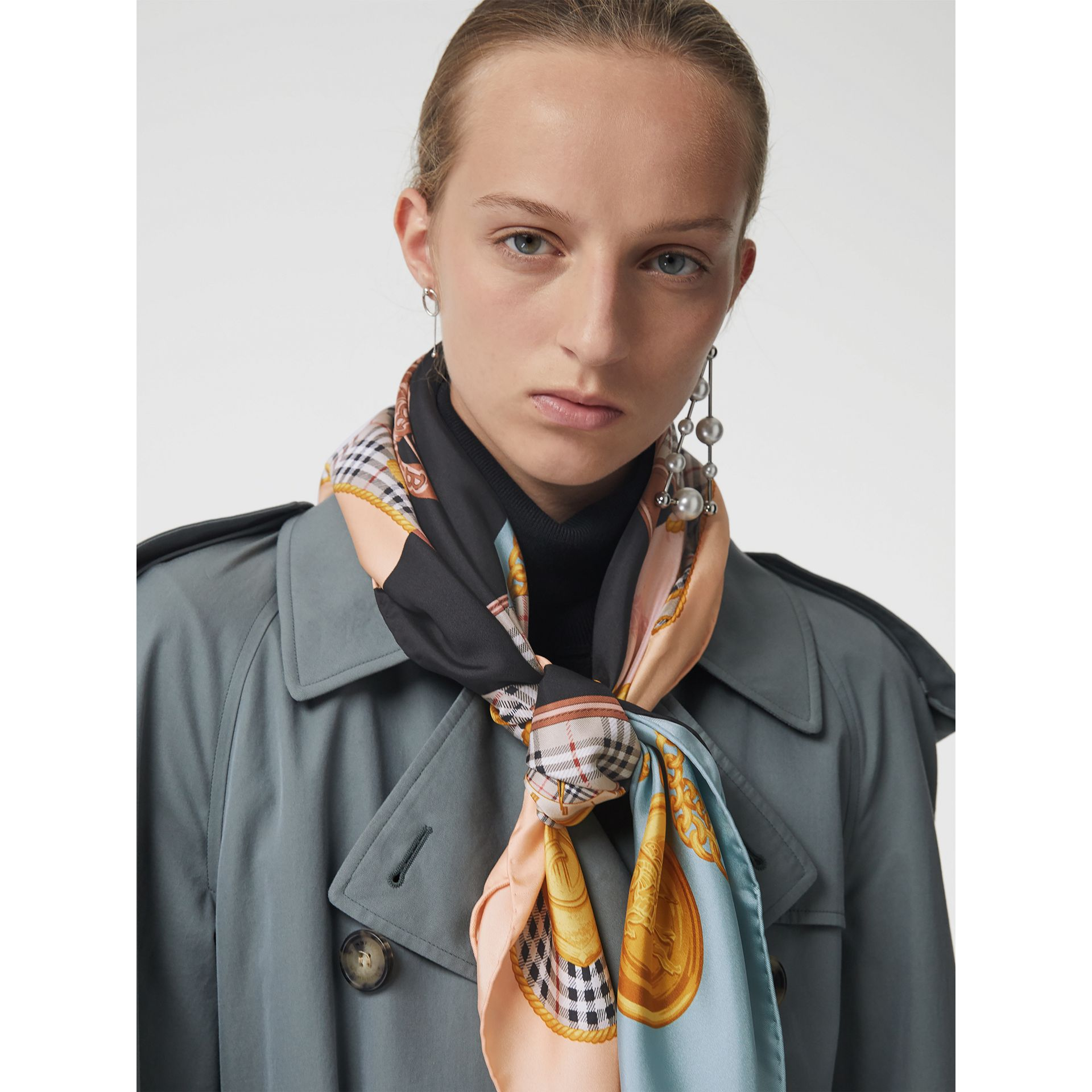 Archive Scarf Print Silk Square Scarf in Multicolour | Burberry United Kingdom - gallery image 4