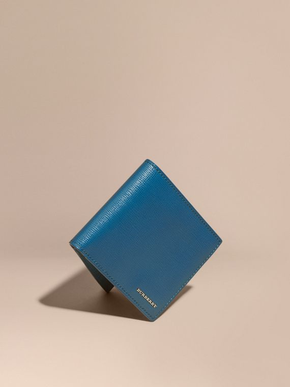 London Leather Folding Wallet Mineral Blue