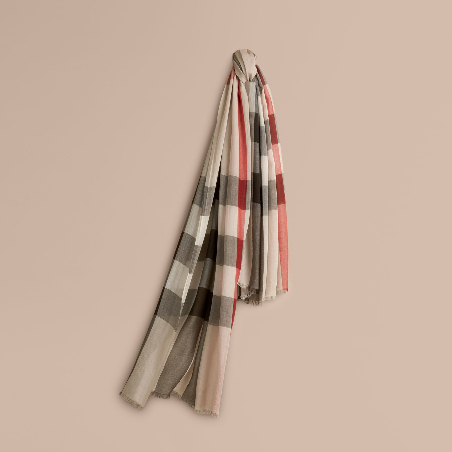 Check Modal Cashmere and Silk Scarf in Stone - gallery image 1