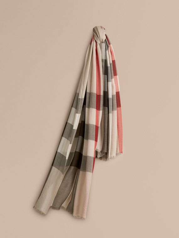 Check Modal Cashmere and Silk Scarf in Stone - Women | Burberry Singapore