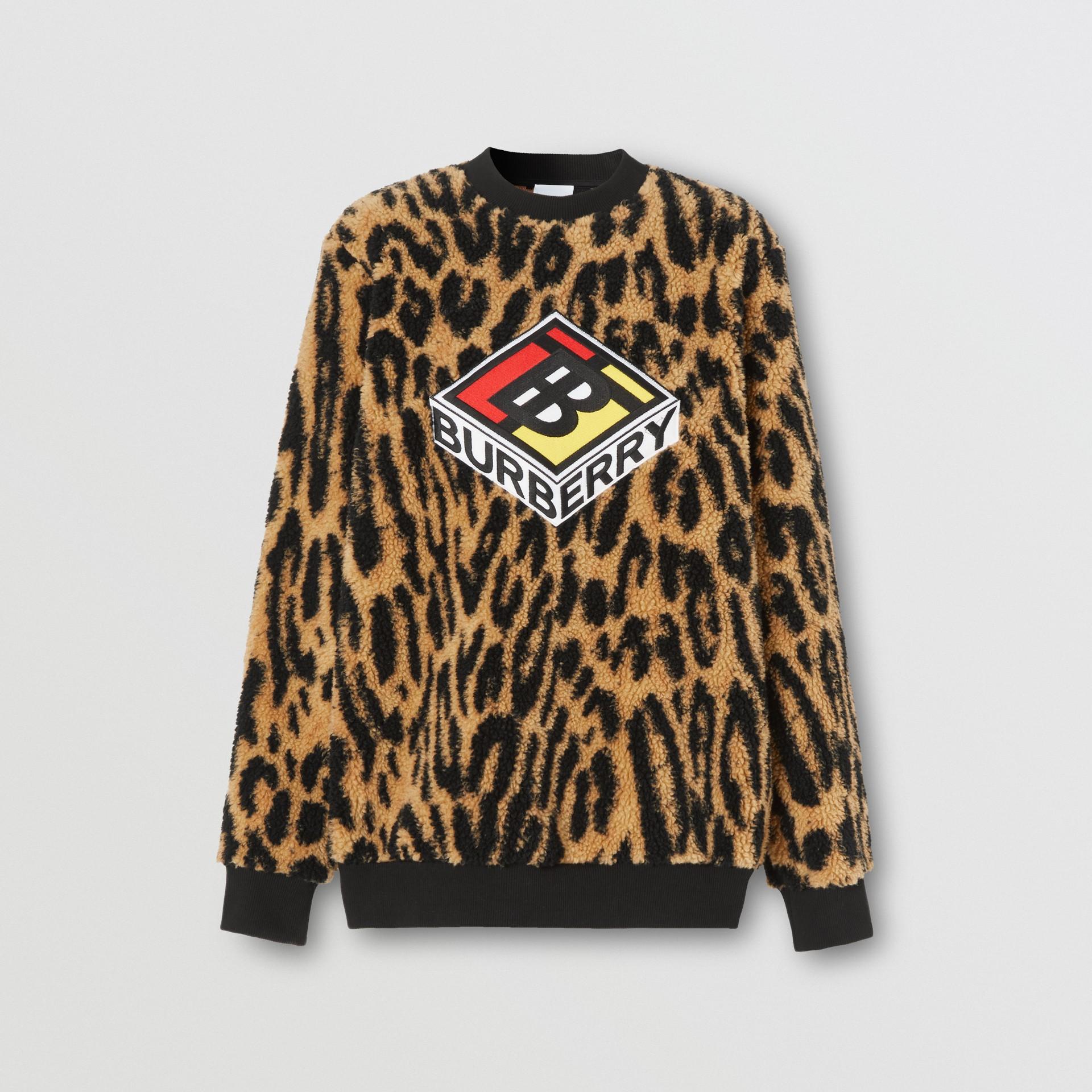 Logo Graphic Leopard Fleece Jacquard Sweatshirt in Dark Mustard - Women | Burberry - gallery image 3