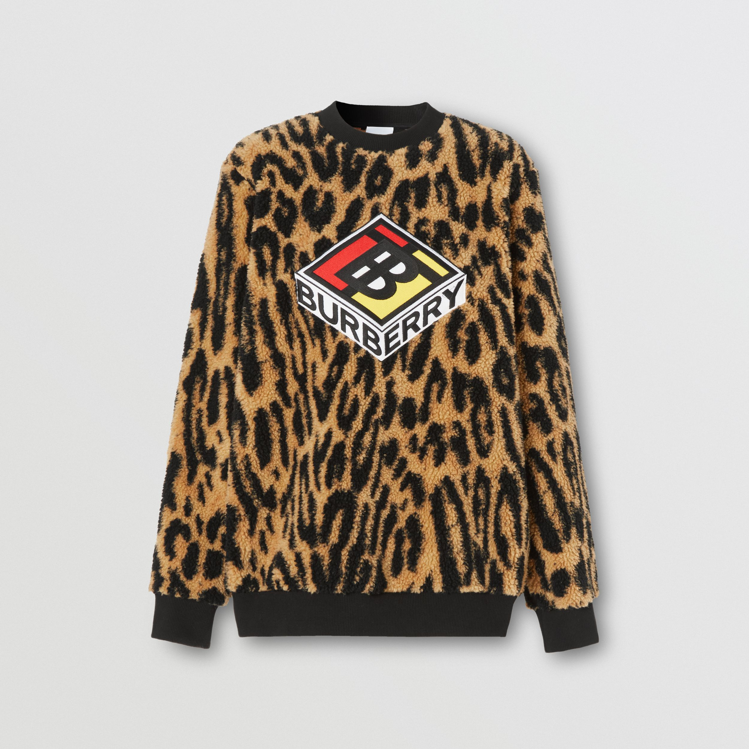 Logo Graphic Leopard Fleece Jacquard Sweatshirt in Dark Mustard - Women | Burberry - 4