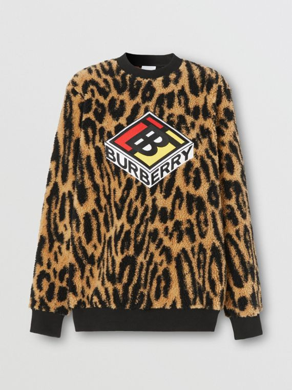 Logo Graphic Leopard Fleece Jacquard Sweatshirt in Dark Mustard