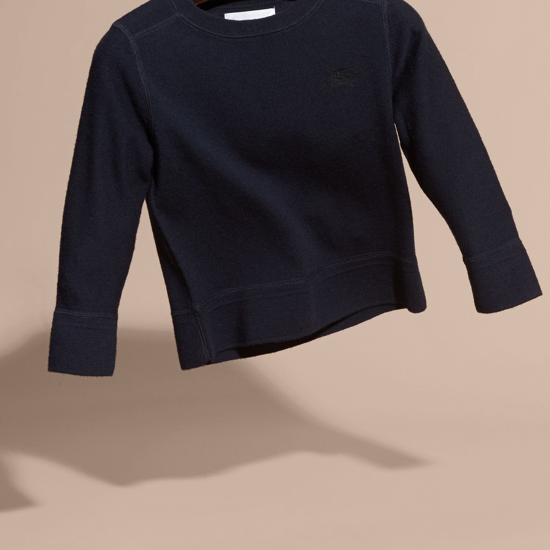 Check Elbow Patch Merino Wool Sweater in Navy - Boy | Burberry Canada - gallery image 2