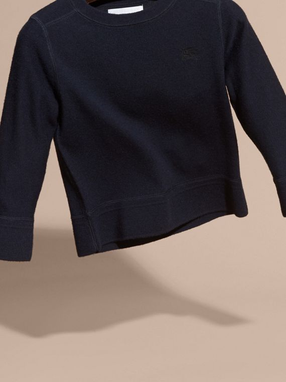 Check Elbow Patch Merino Wool Sweater in Navy - Boy | Burberry Canada - cell image 2