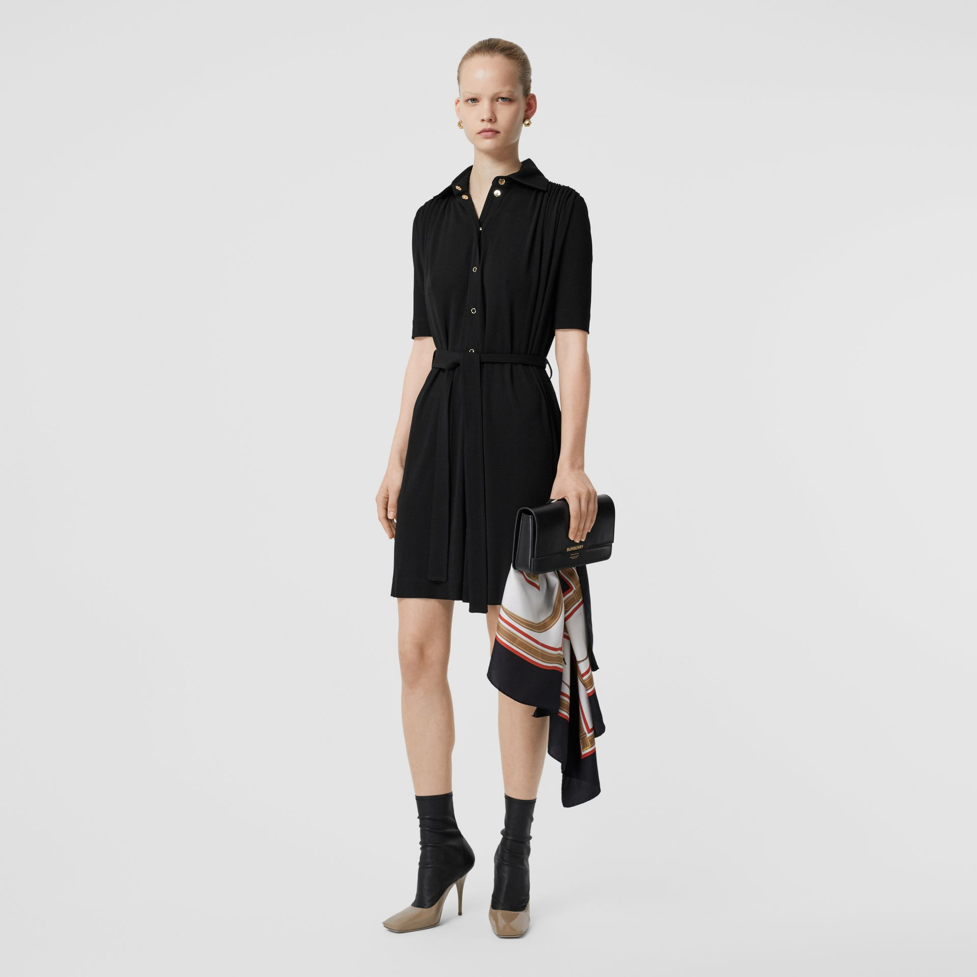 Short-sleeve Gathered Jersey Dress in Black - Women | Burberry - gallery image 0